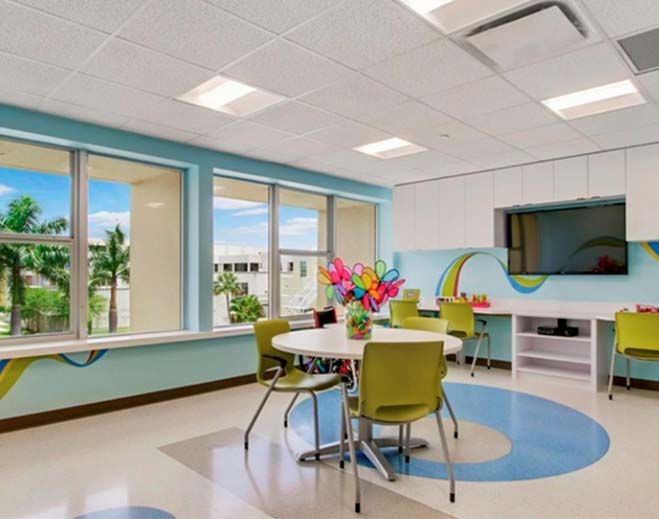 Peds 3 playroom: Staying at the hospital can be fun! There are lots of activities to do! We can't wait to meet you!
